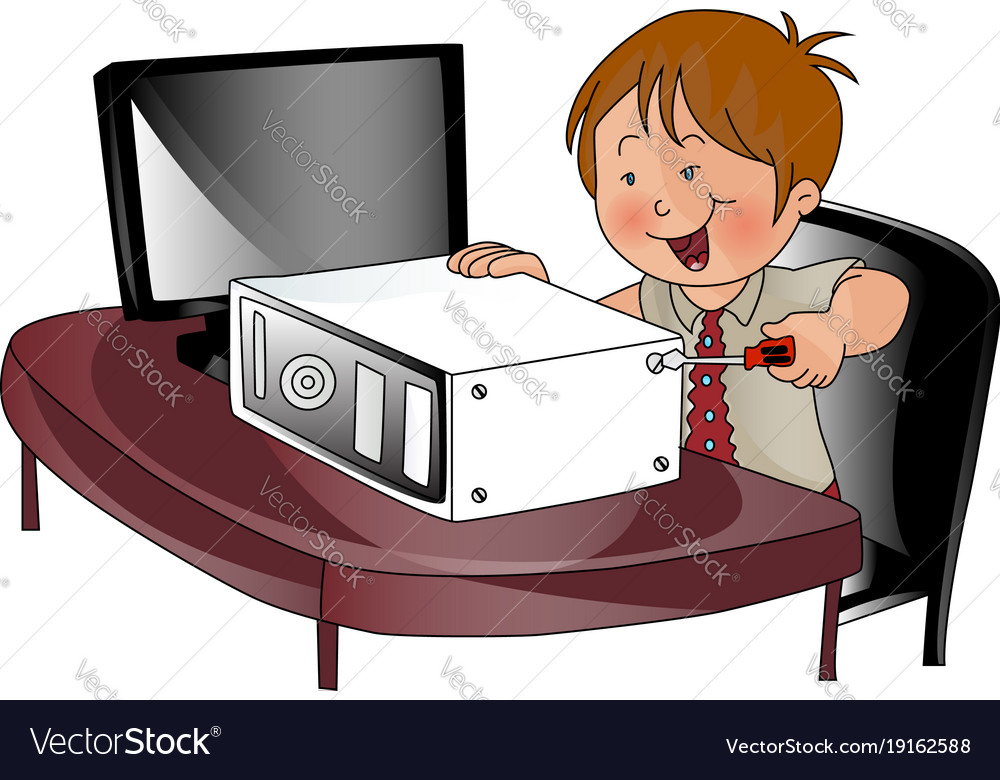 boy repairing a cpu royalty free vector image vectorstock vectorstock