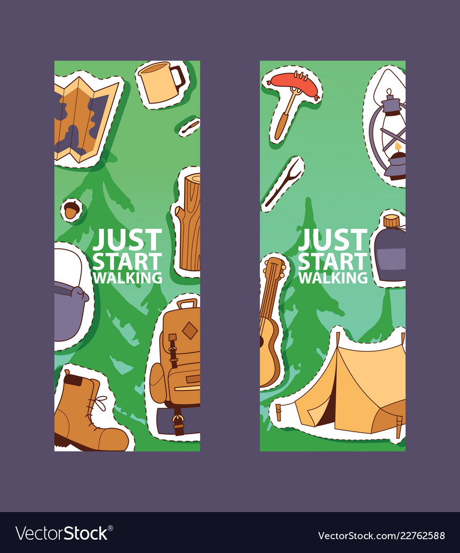 Camping equipment banner poster flyer