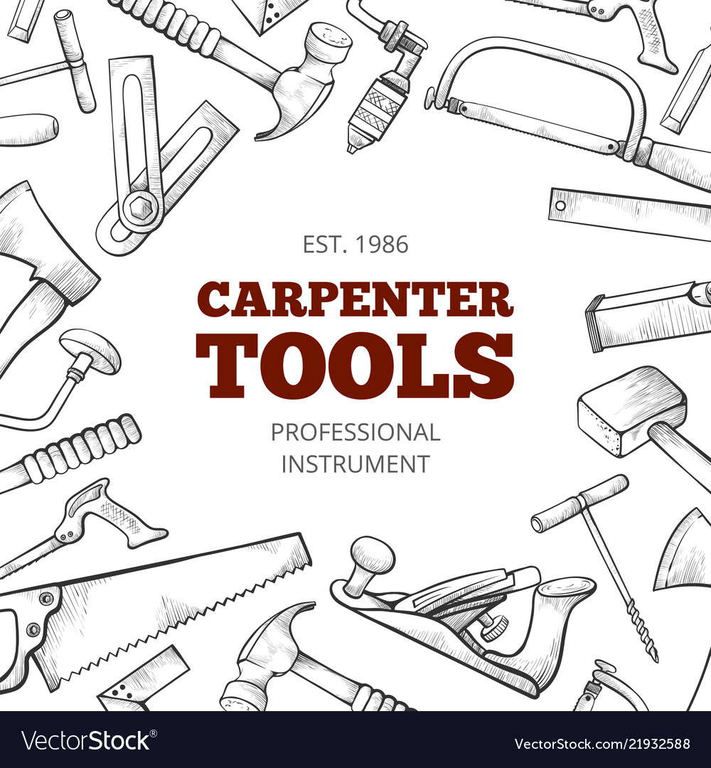 Carpenter hand tools and professional instruments