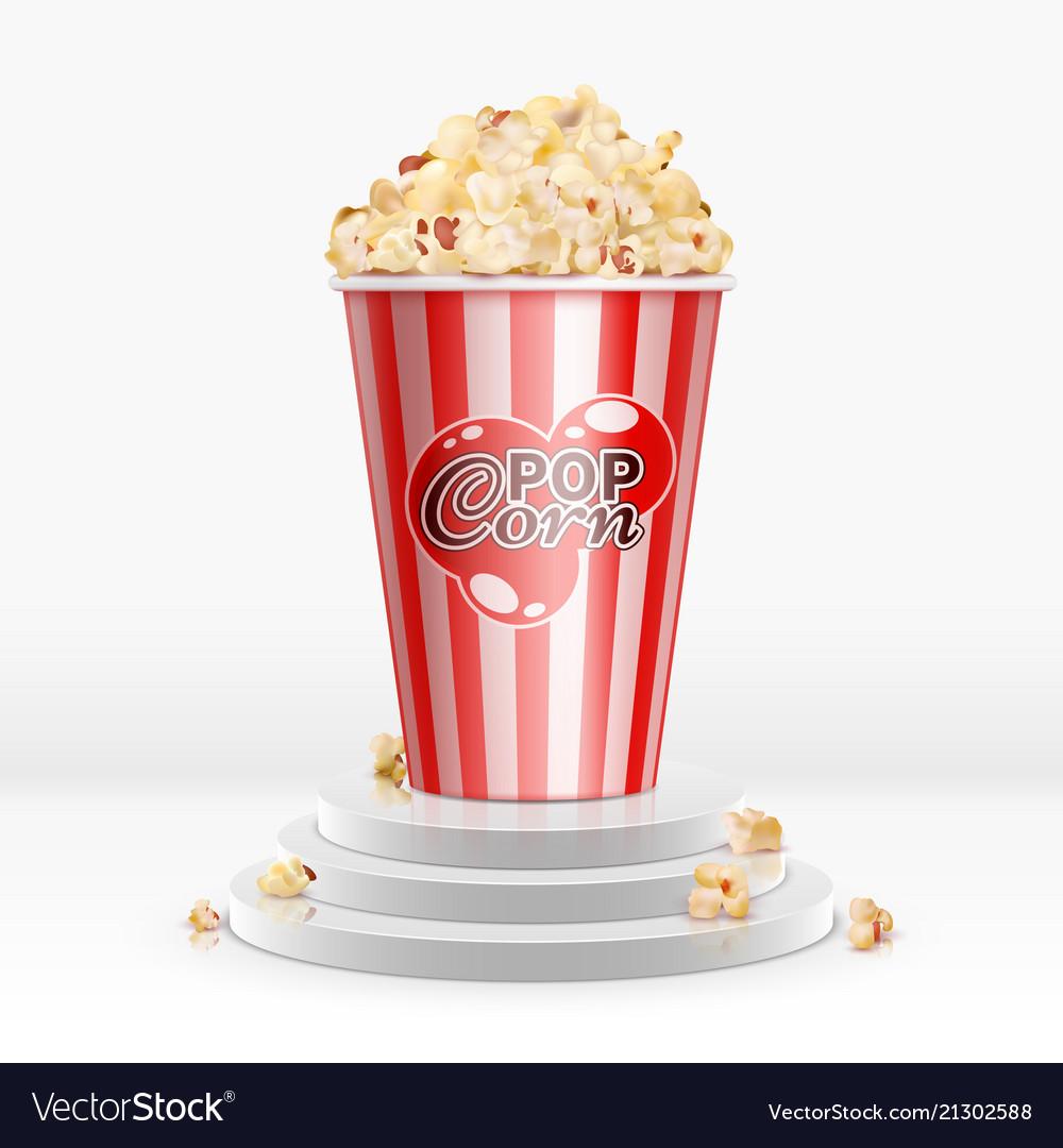 Cinema food popcorn in disposable bowl on pedestal