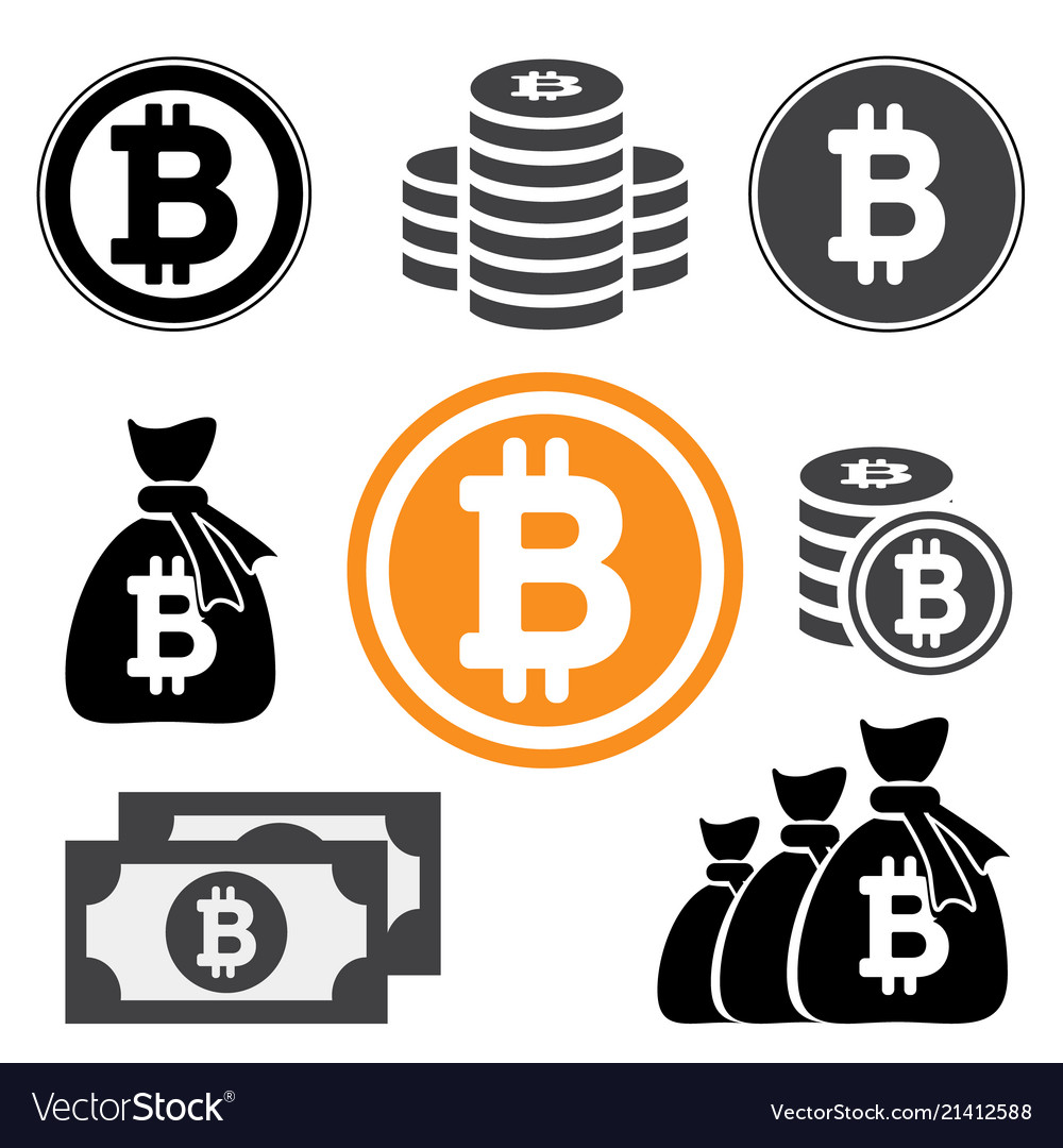 Collection icon bitcoin sign for internet money
