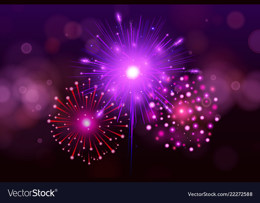 Festive colorful fireworks on black background