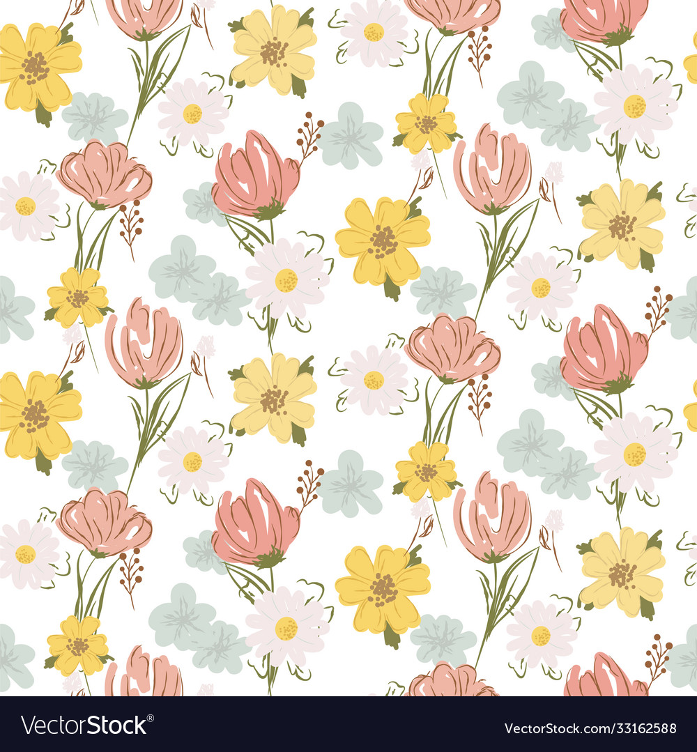 Floral seamless pattern with wildflowers and