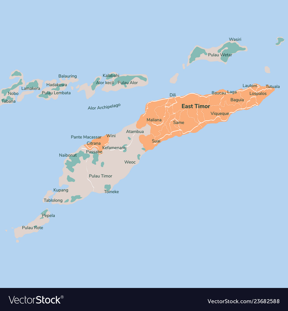 Map East Timor Isolated Eps Royalty Free Vector Image