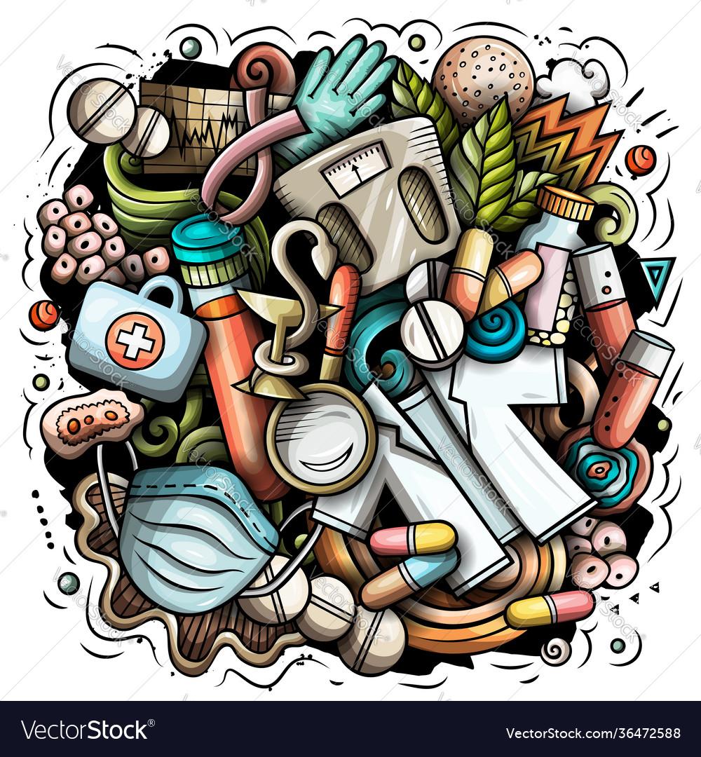 Medicine cartoon doodle design
