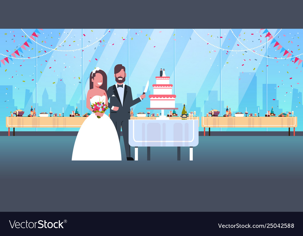Newlyweds just married man woman cutting sweet
