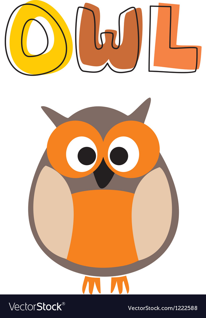 O is for owl - owl under school hand drawn word