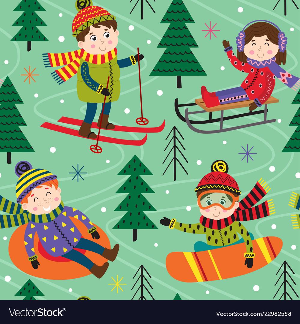 Seamless pattern winter fun with kids on ski