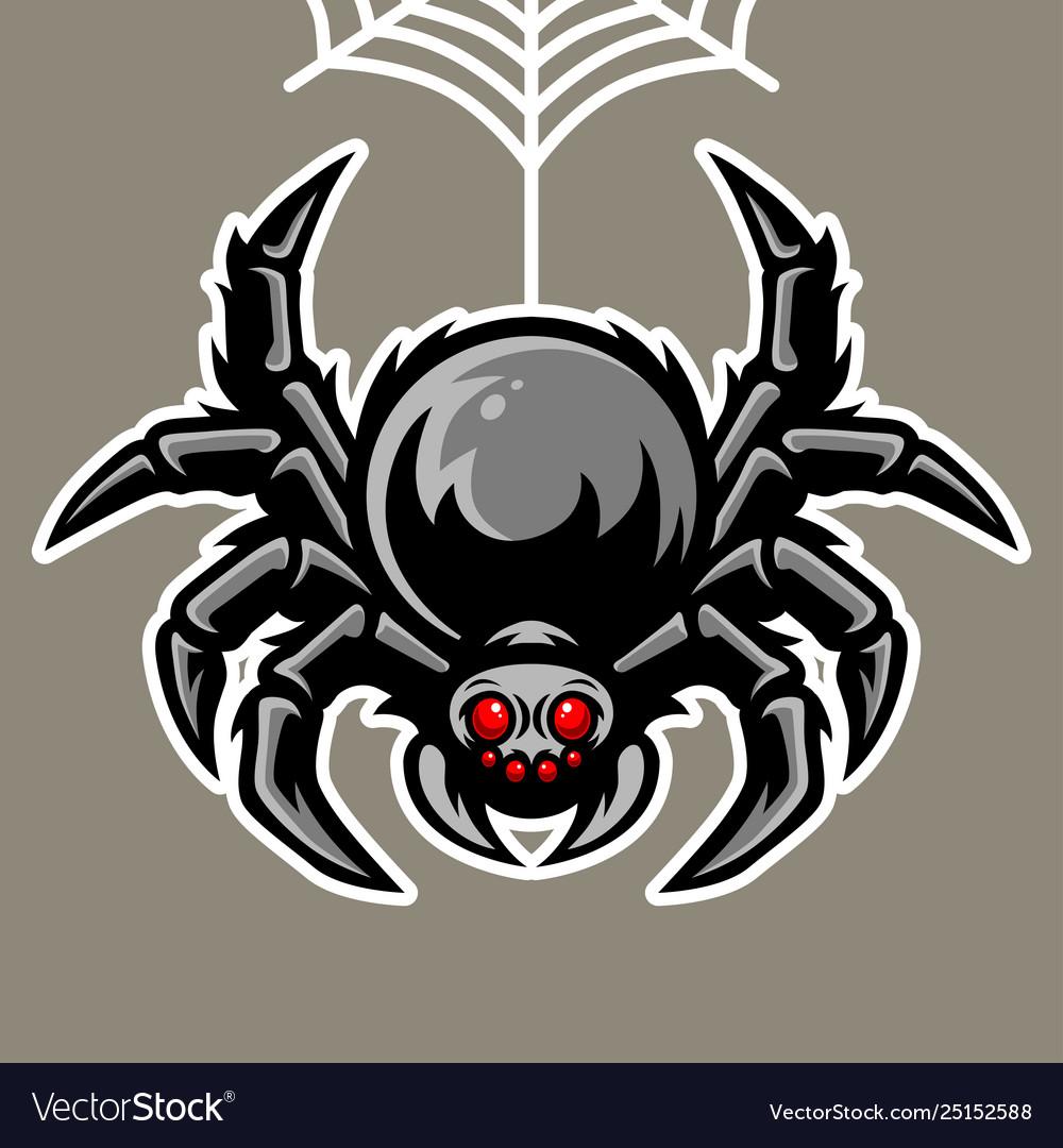 Spider mascot hanging on spider web