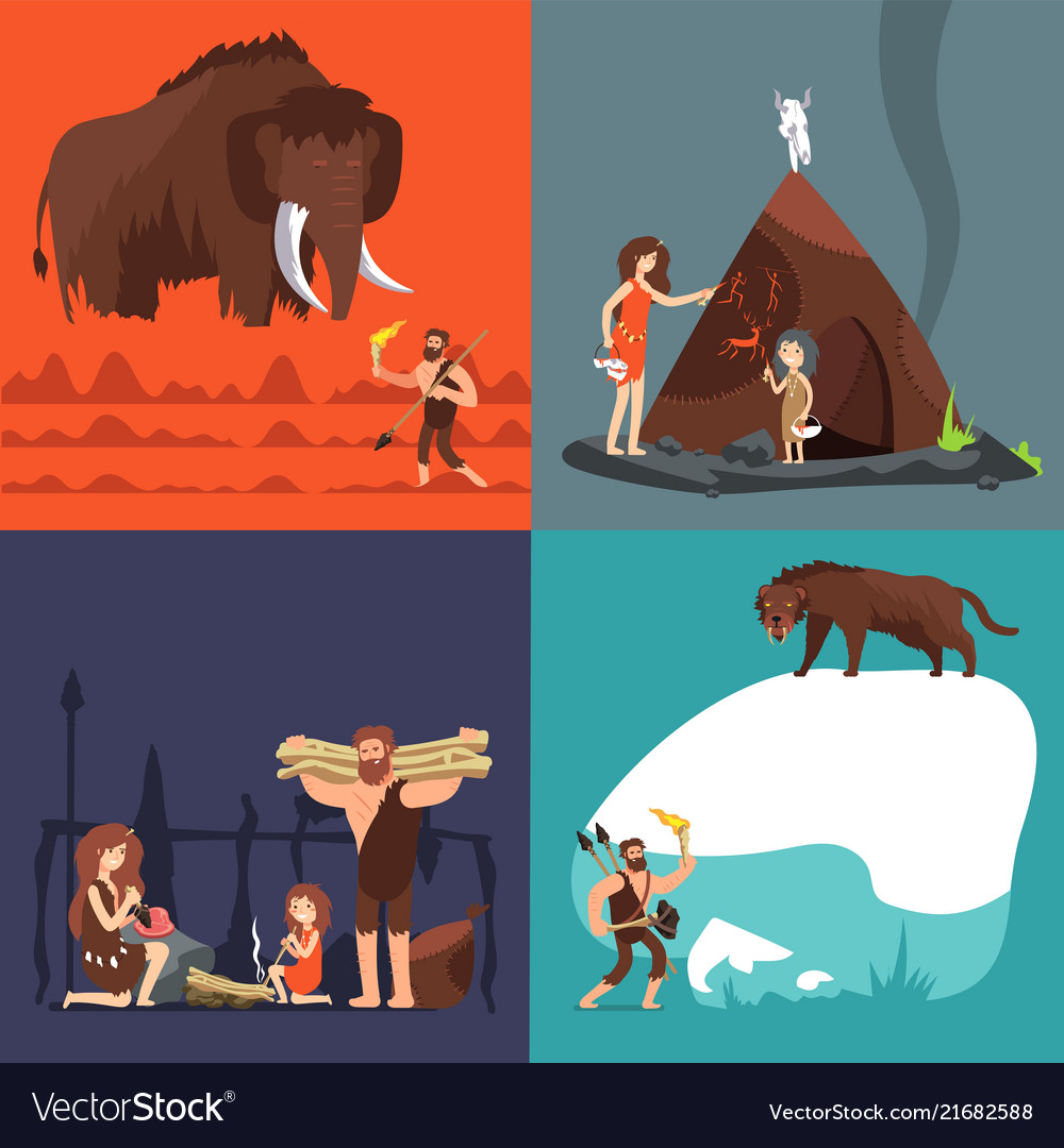 Stone age concepts prehistoric ancient human and