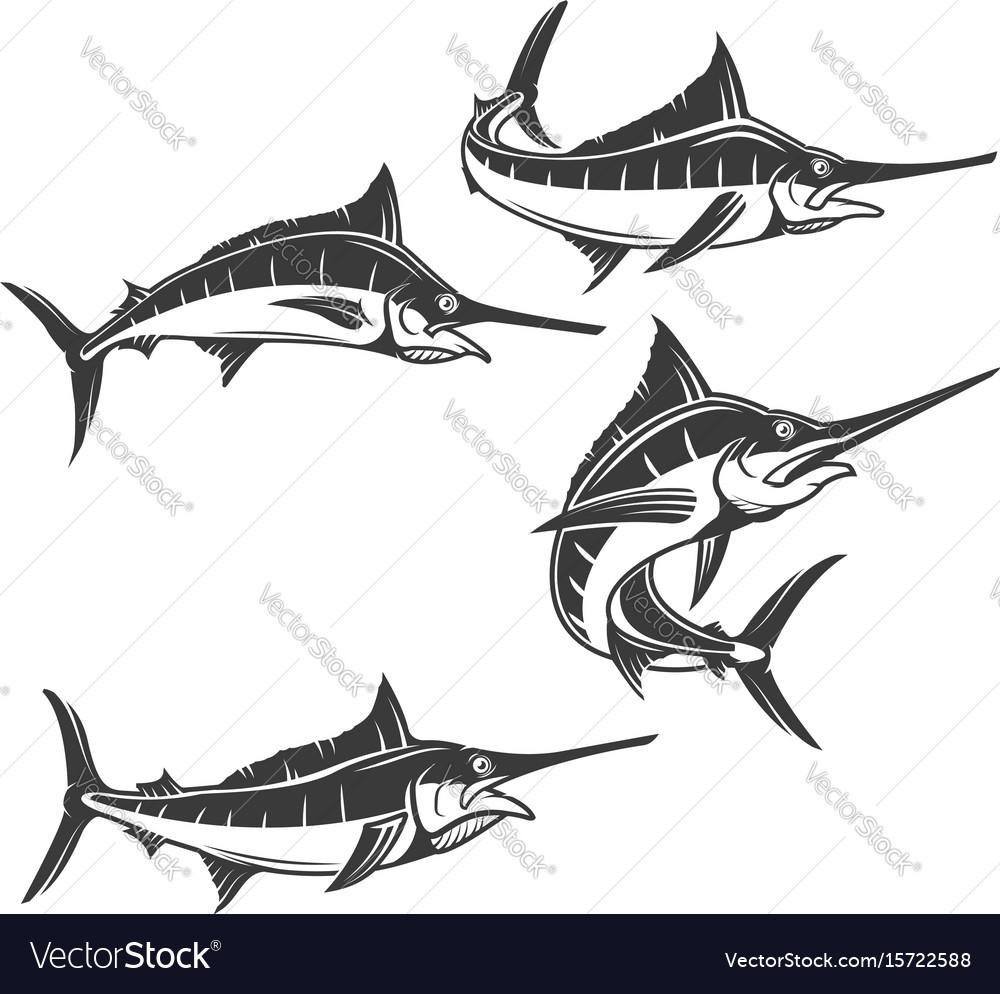 Swordfish icons isolated on white background