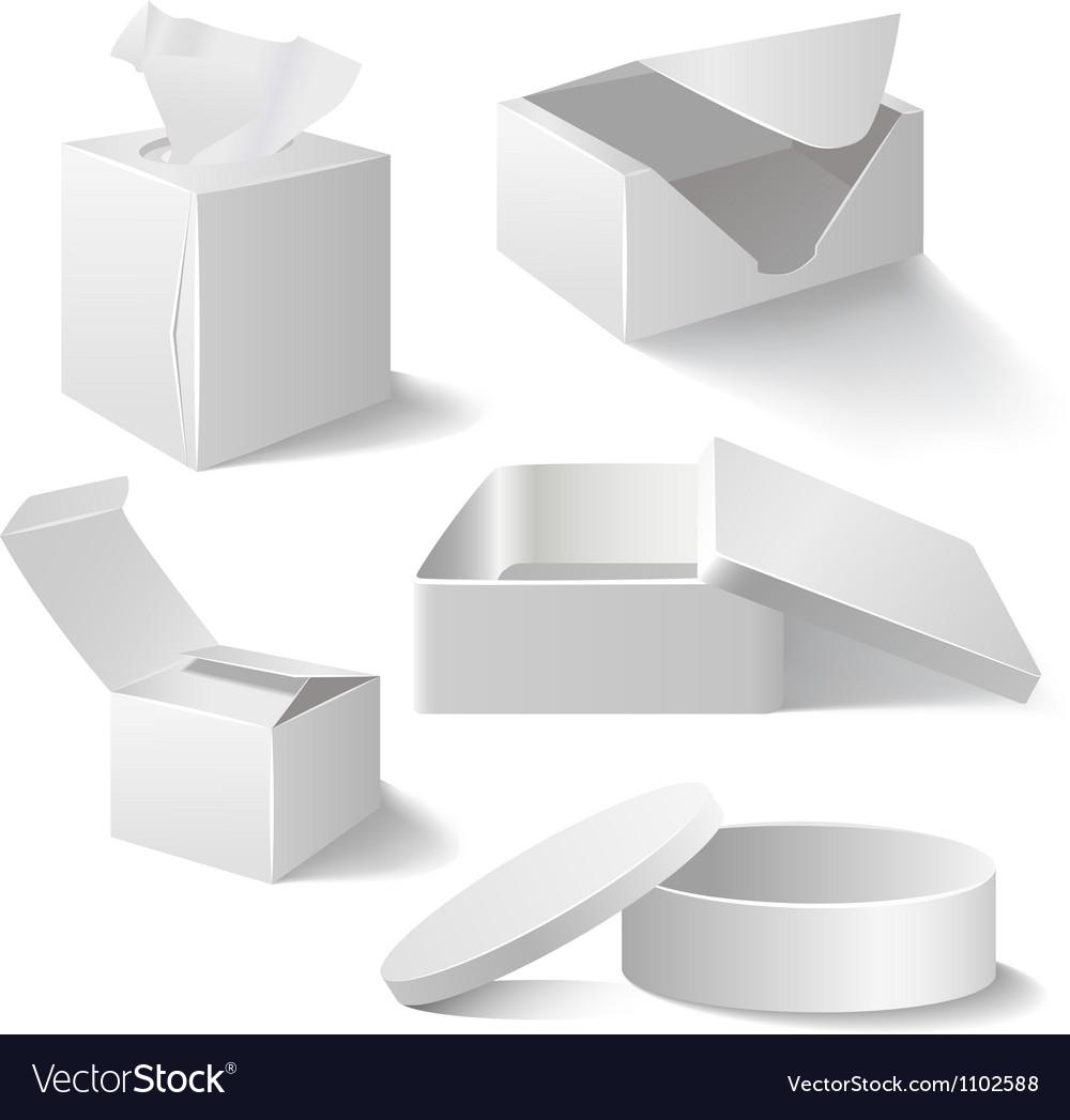 White boxes set isolated on white vector image