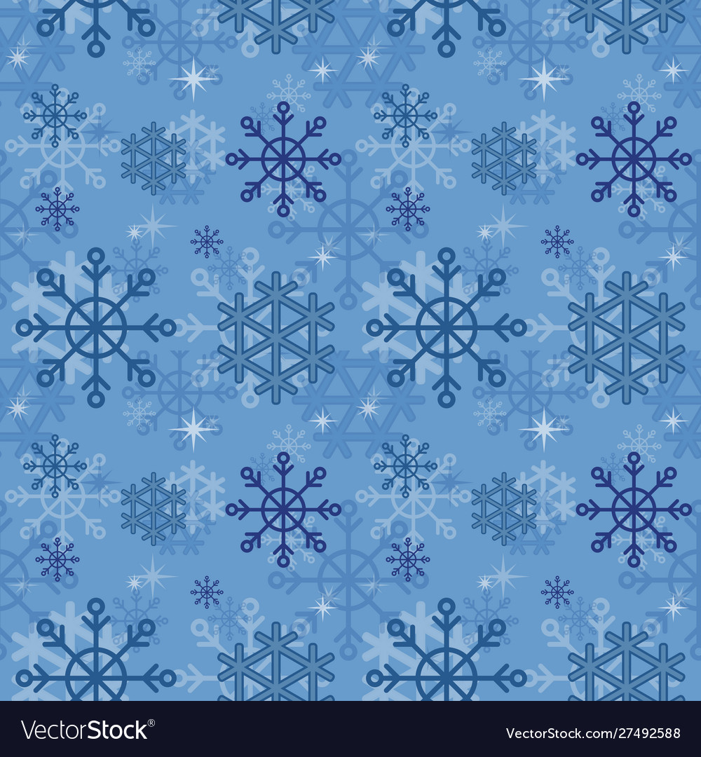 Winter pattern with blue snowflakes in flat