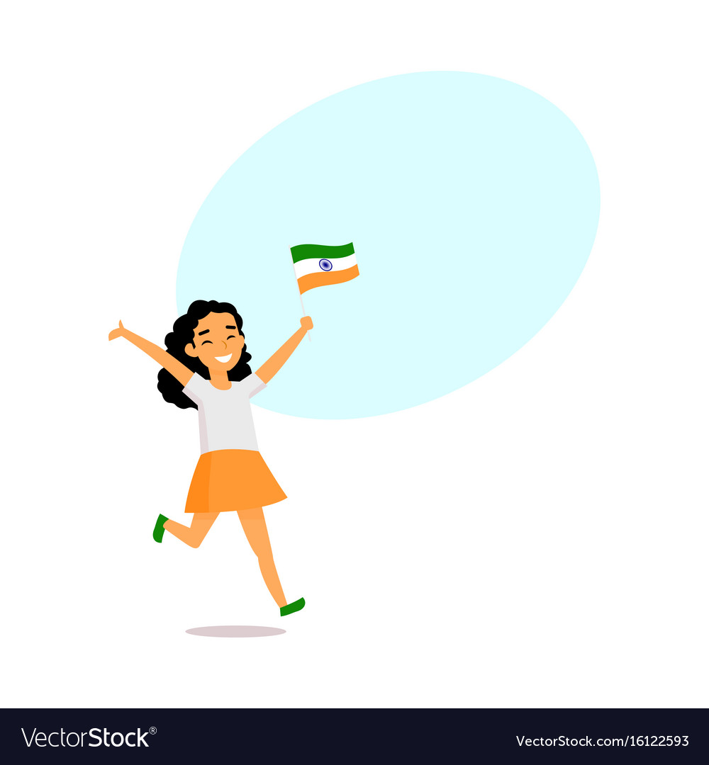 Cartoon indian girl running with little indian vector image