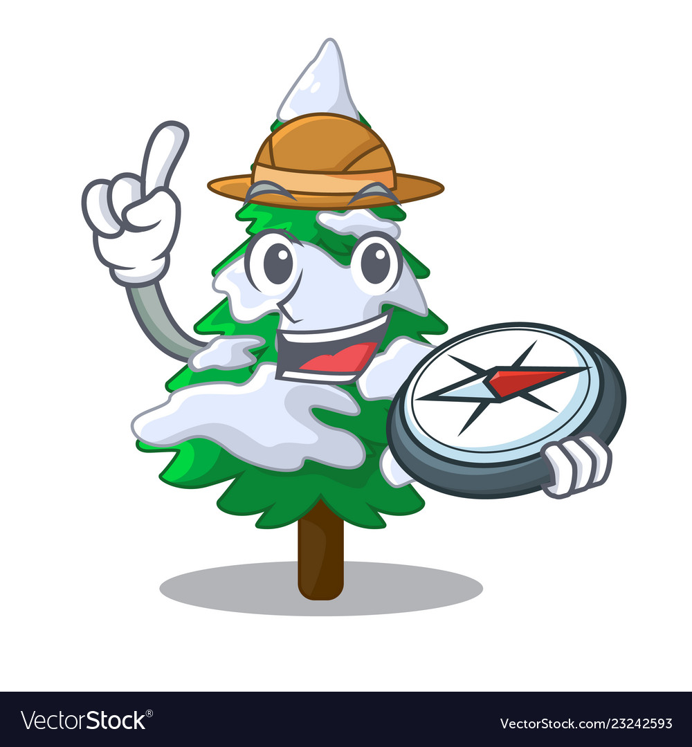 Explorer Realistic Fir Tree In Snow Mascot Vector Image The best selection of royalty free cartoon tree trunk isolated vector art, graphics and stock illustrations. explorer realistic fir tree in snow mascot vector image