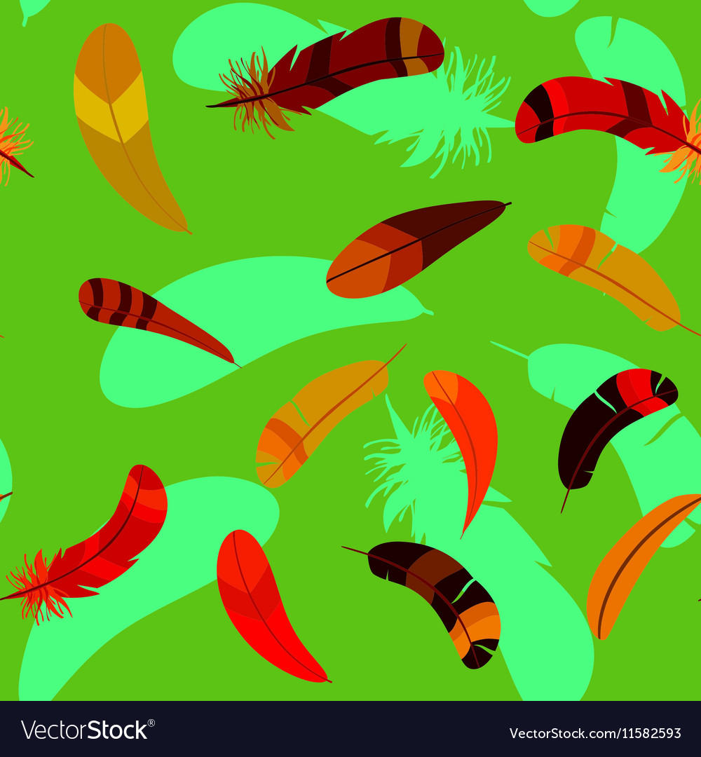 Feathers in seamless cartoon pattern