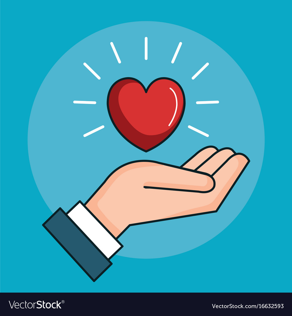 Hand With Heart Love Peace Symbol Royalty Free Vector Image
