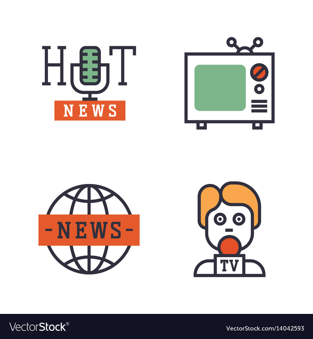 Hot news icons flat style colorful set websites
