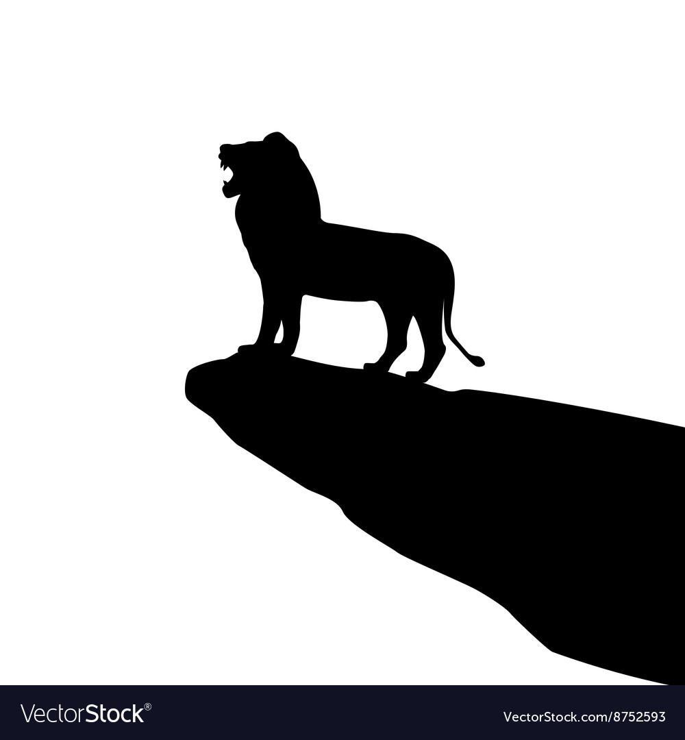 Isolated lion silhouette
