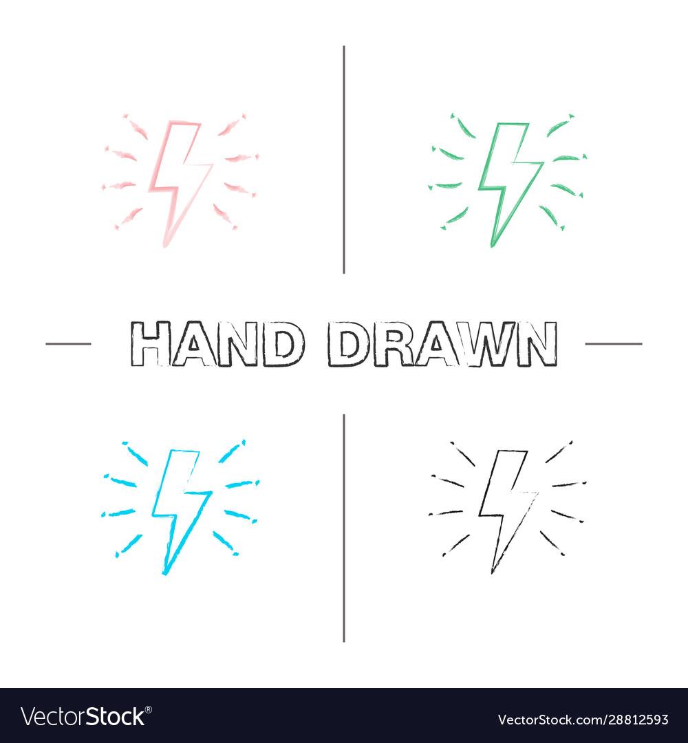 Lightning bolt hand drawn icons set