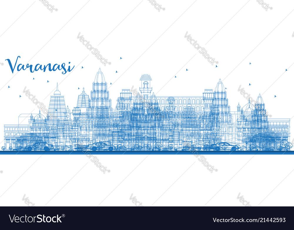 Outline varanasi india skyline with blue buildings