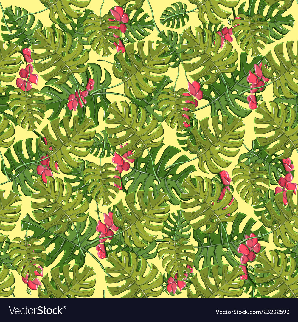 Plant seamless pattern with hibiscuspalm