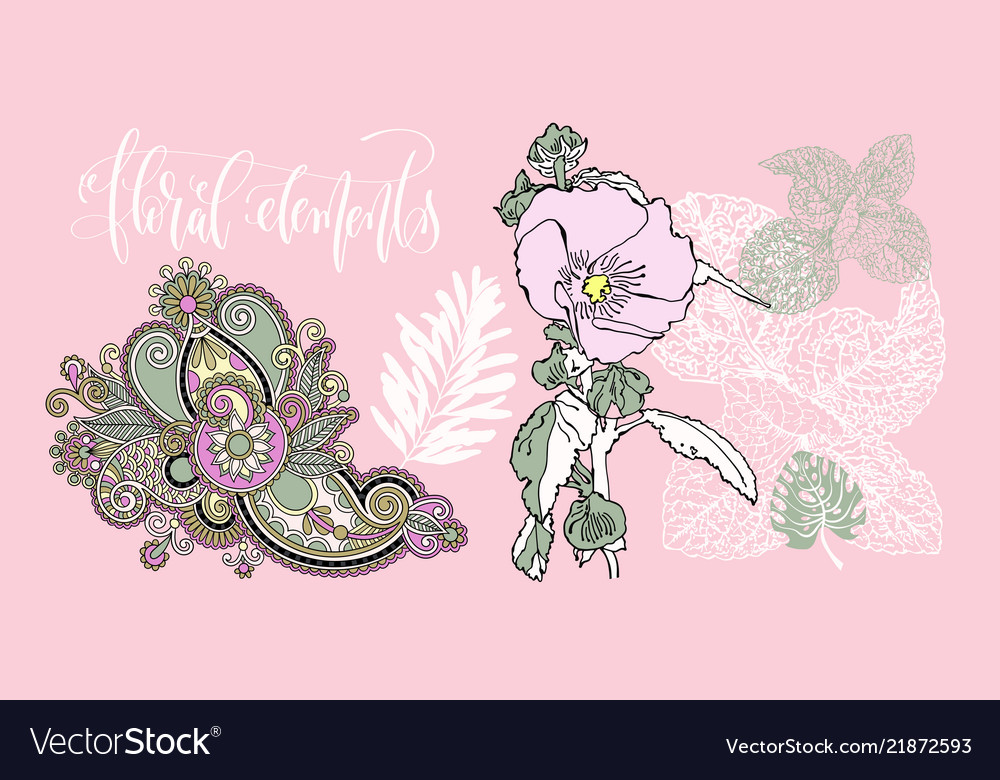 Set of flowers and leaves in a realistic and