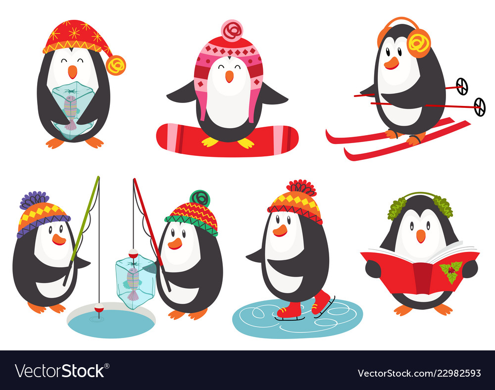 Set of isolated cute penguins