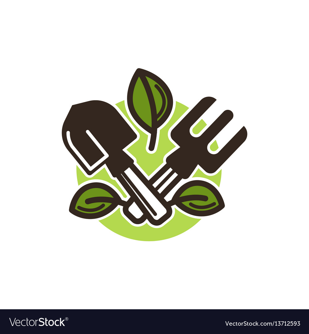 Small garden shovel and pitchfork graphic figure