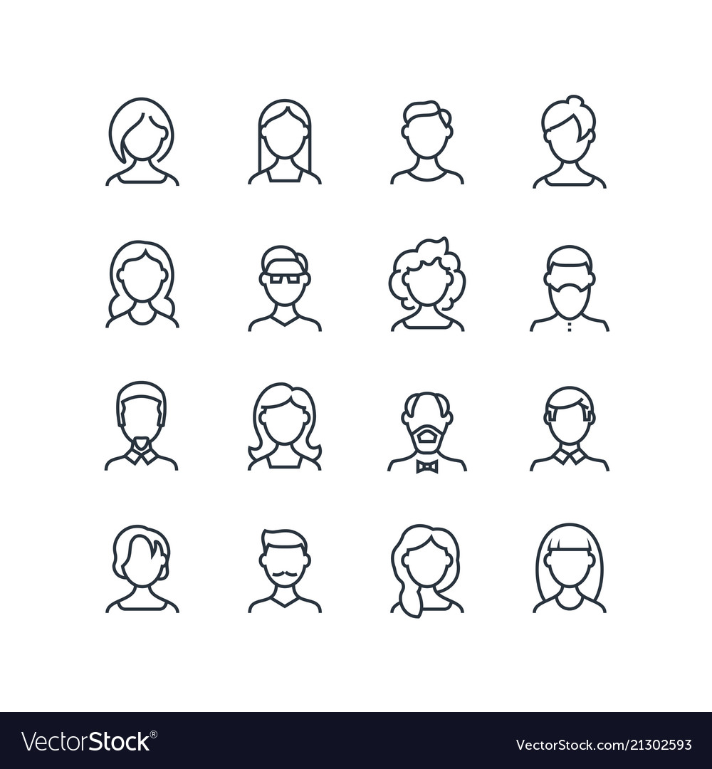 Woman and man face line icons female male profile vector image
