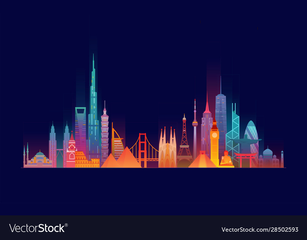 World skyline travel and tourism background