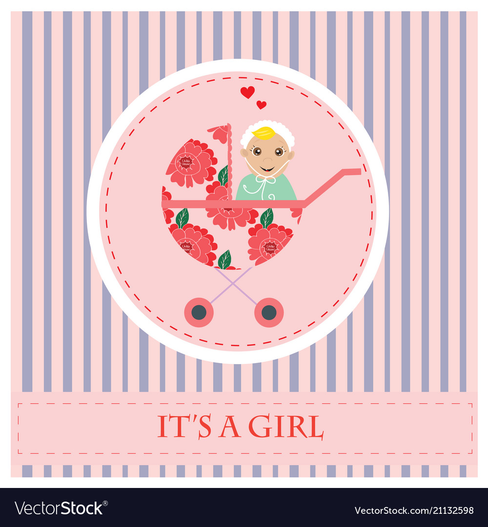 Baby Carriage Greeting Card To Newborn Baby It S Vector Image
