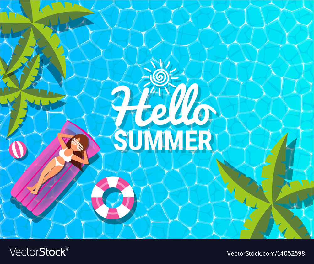 Beautiful woman relaxing at swimming pool for vector image