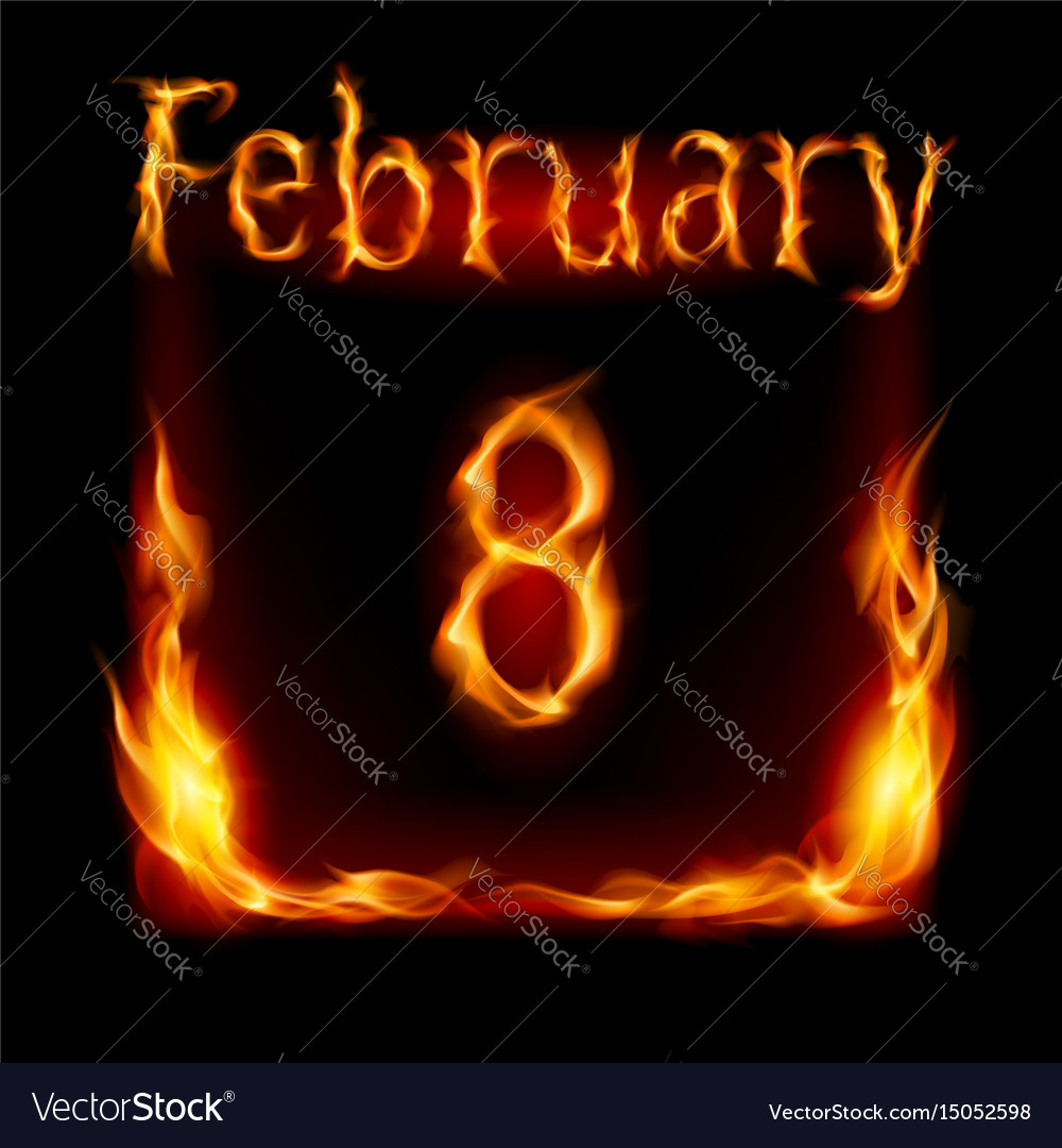 Eighth february in calendar of fire icon on black vector image
