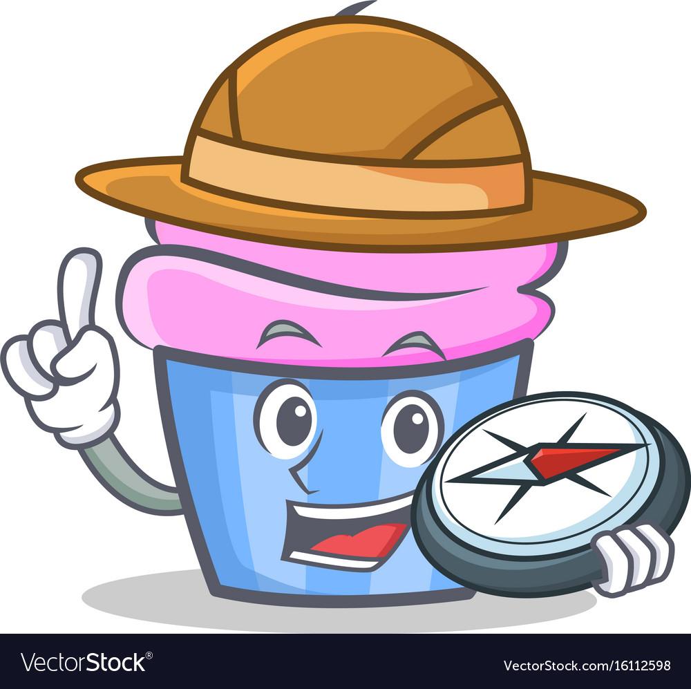 Explorer cupcake character cartoon style