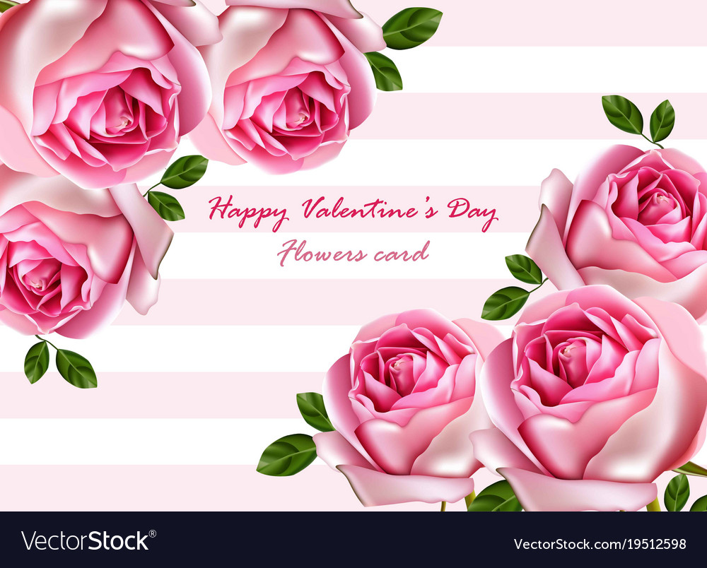 Happy Valentine Day Beautiful Roses Card Vector Image