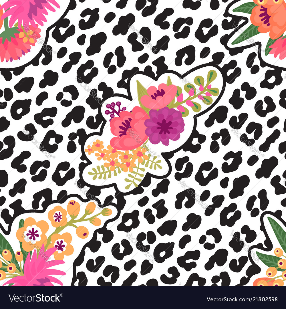 Leopard print and flower embroidery fashion patch