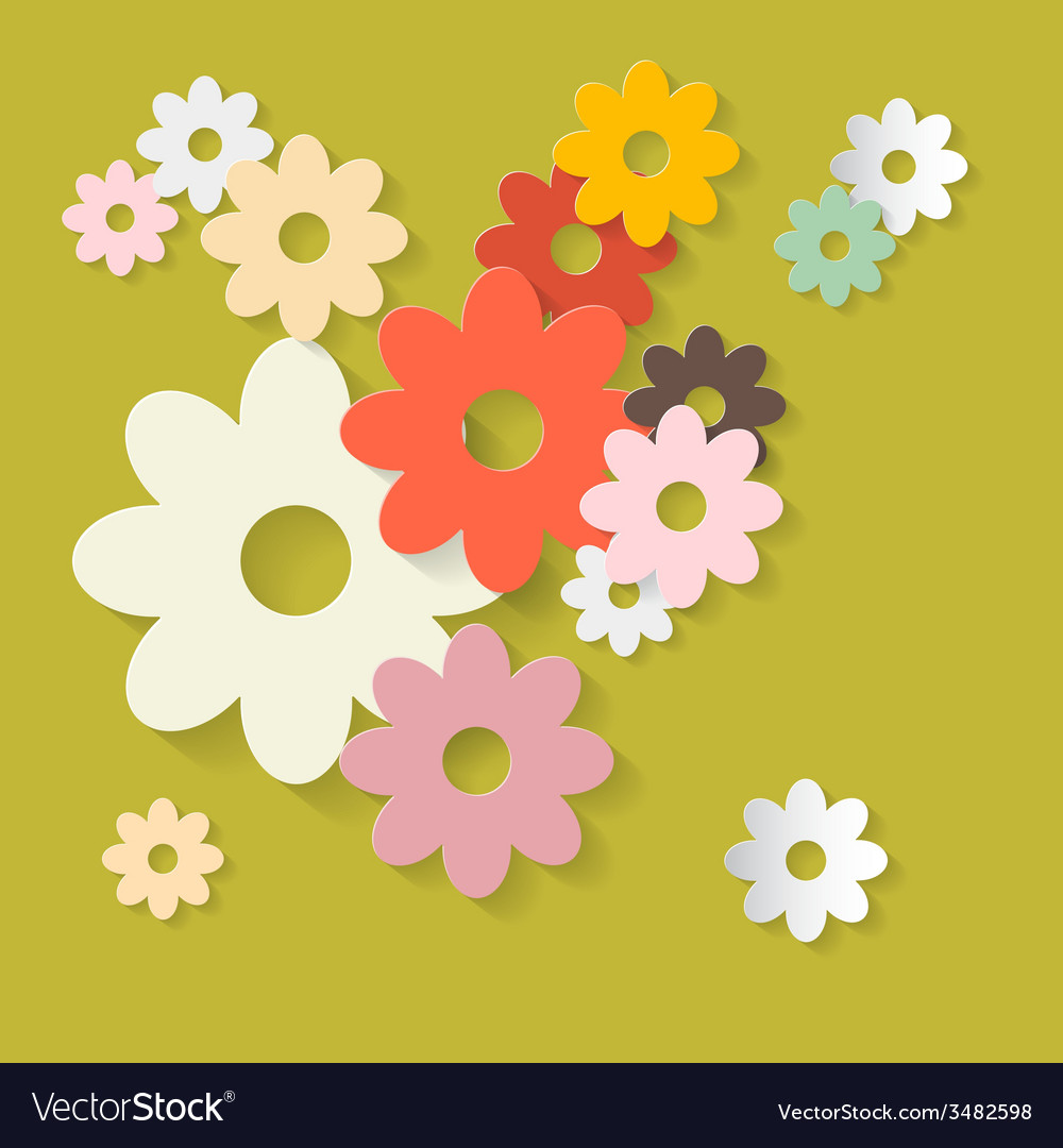 Retro Flowers Green Paper Background Royalty Free Vector