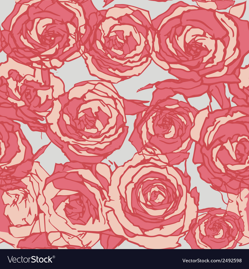 Seamless red roses vector image