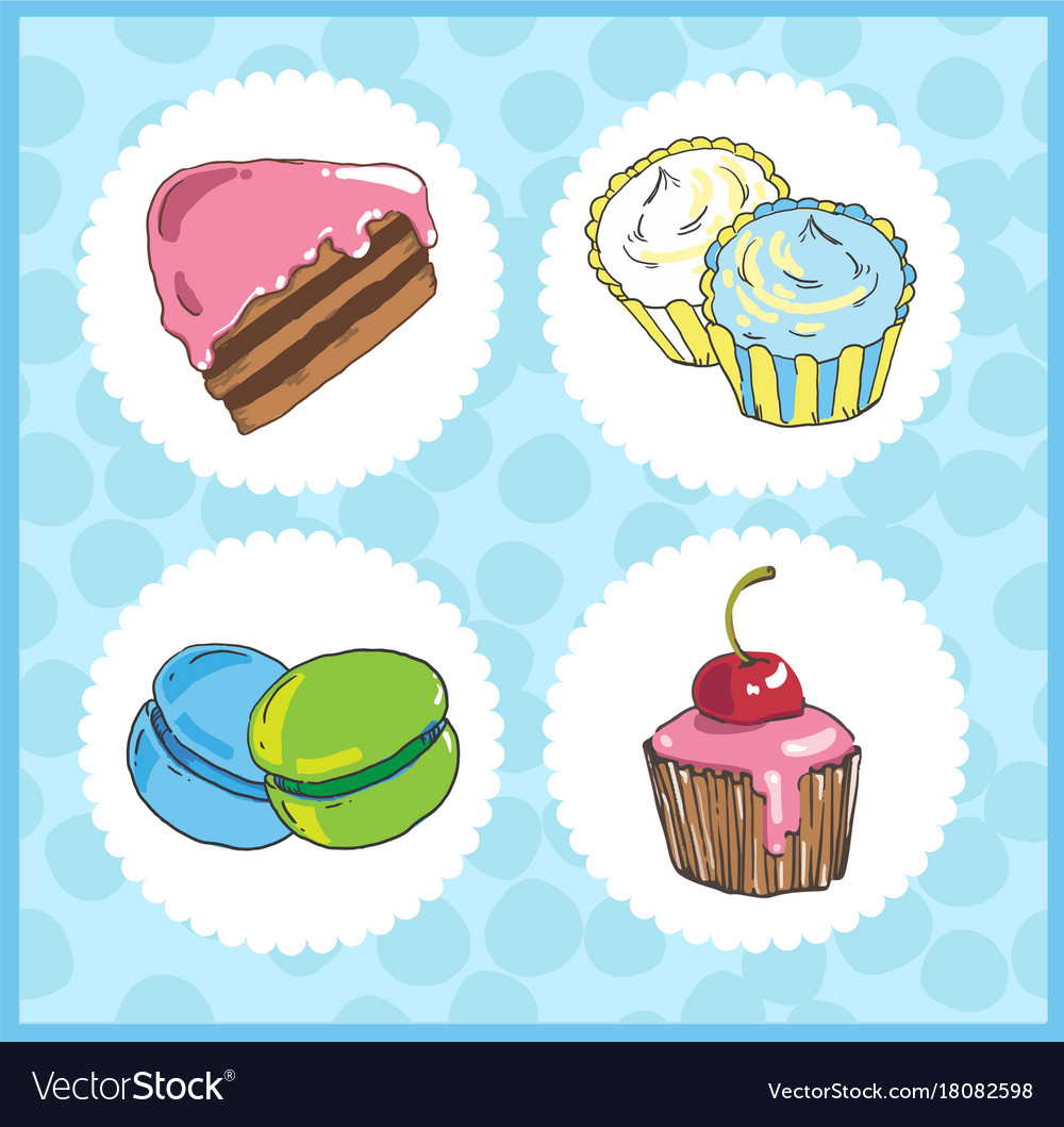 Set of icons of sweets with cake cupcake