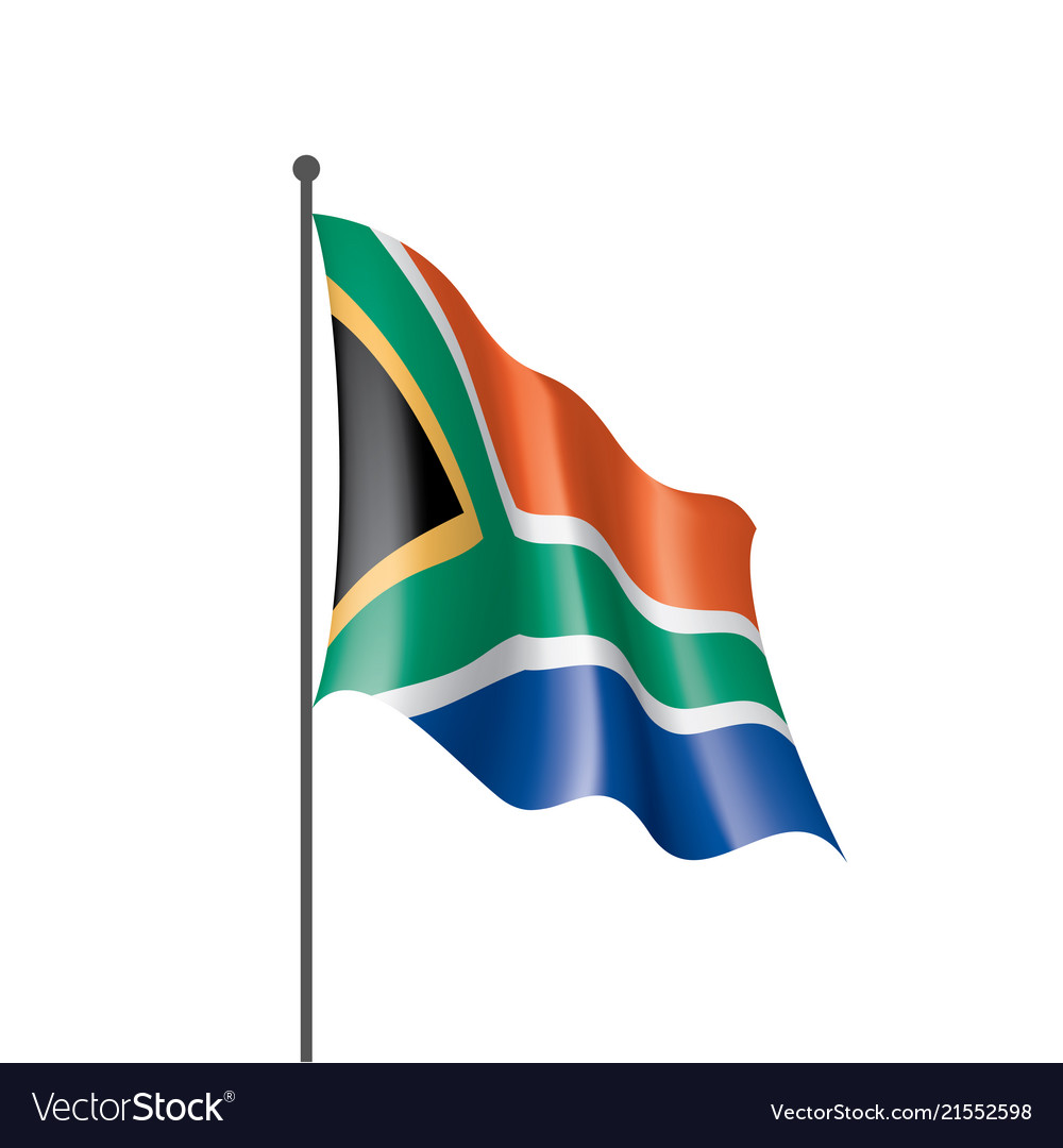 South africa flag on a white