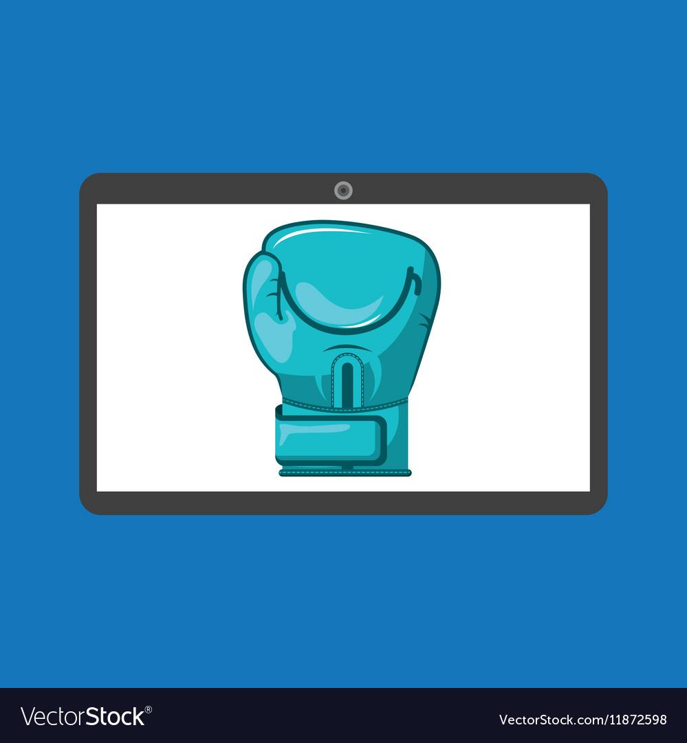 Sport laptop app concept glove boxing