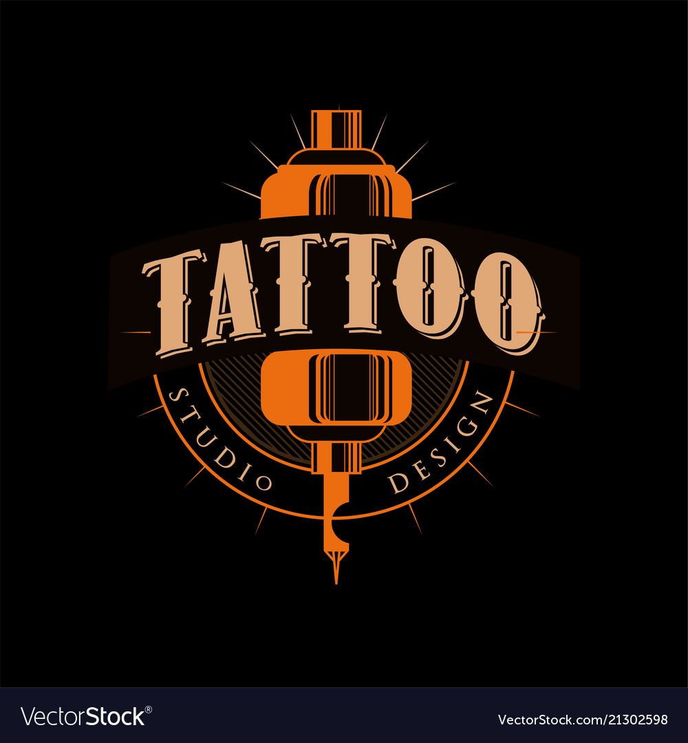 Tattoo studio design retro styled emblem with