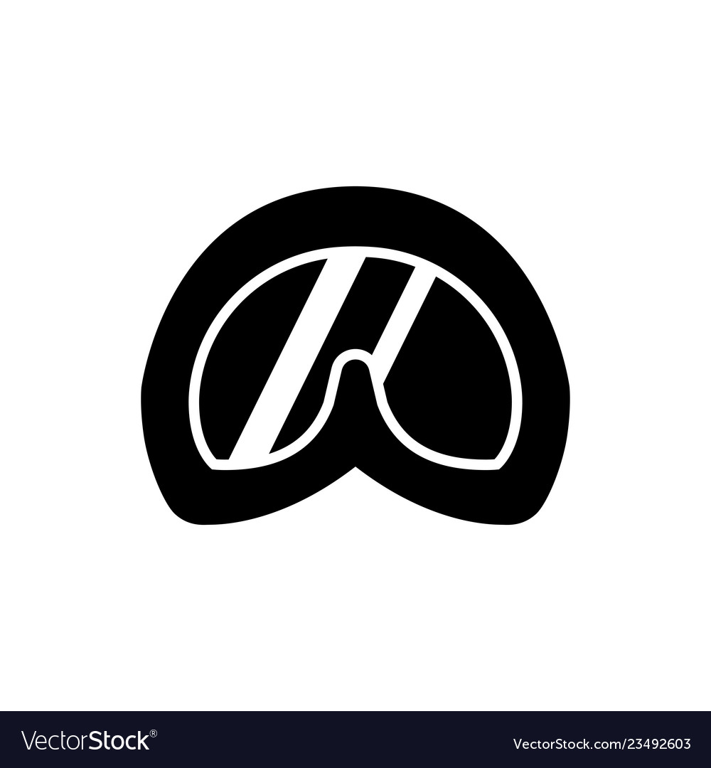 Abstract diving goggles flat logo icons black