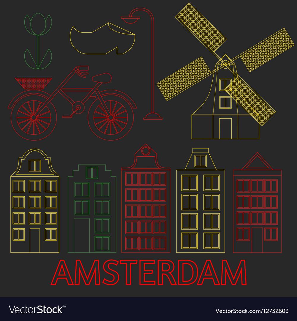 Amsterdam city flat line art Travel landmark