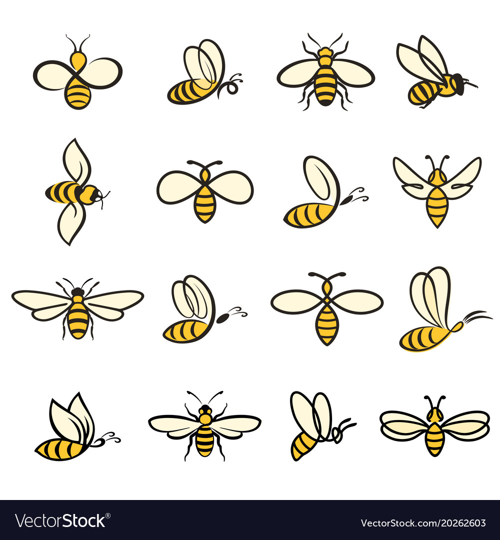 Bee icons colour vector image