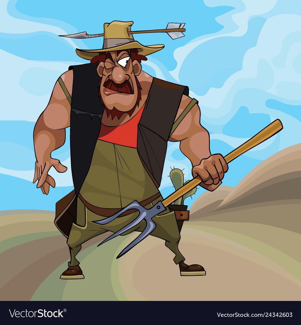 Cartoon funny farmer defends himself with a