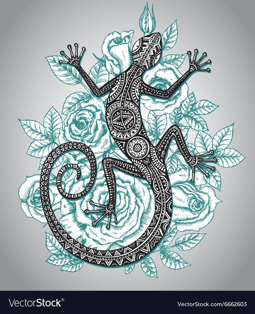 Hand drawn lizard or salamander with ethnic tribal