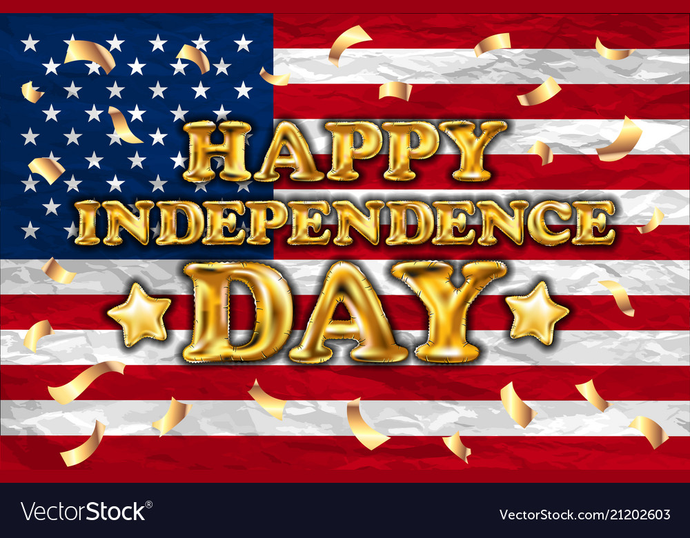 Happy independence day gold balloon greeting card