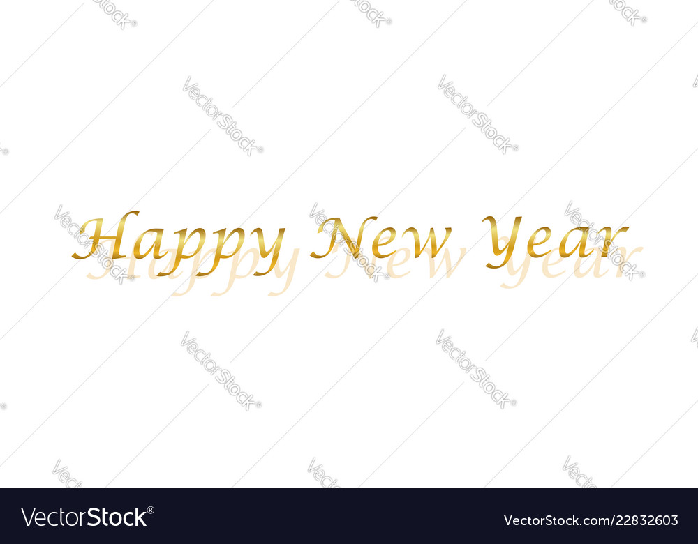 Happy new year gold text decoration bright golden